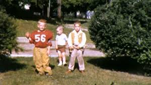 little boys in halloween costumes football 1950s vintage film home