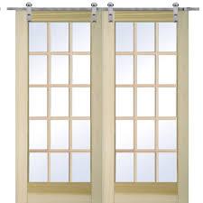 mmi door 72 in x 80 in poplar 15 lite double door with barn door