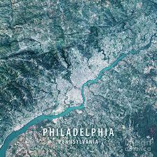 Satellite View Maps Philadelphia 3d Render Satellite View Topographic Map Digital Art