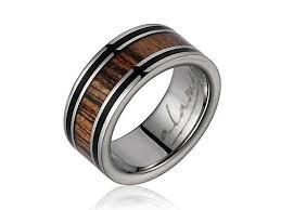 wedding ban menelaus genuine gabon bocote wood inlaid titanium wedding