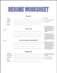 resume worksheet template printable resume worksheet free http jobresumesle 1992