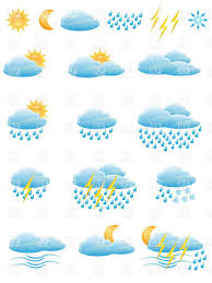weather forecast and meteorology icons clouds sun and rain