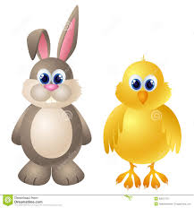 cartoon rabbit and chicken character royalty free stock images