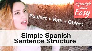 simple spanish sentence structure spanish lessons youtube