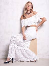 spanish lace set tiered lace maxi set with matching lace off the