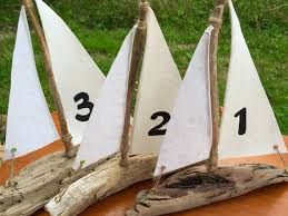 Sailboat Centerpieces Nautical Theme - 6 driftwood sailboat centerpieces for wedding tables nautical