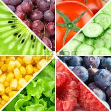 healthy food background collection with color fruits berries