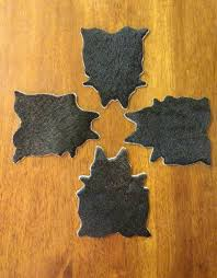 Unique Coasters Black Mini Cowhide Coaster Set Hair On Coasters Unique