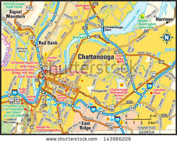 map of chattanooga tn chattanooga tennessee area map stock vector 143966209