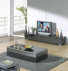 Tv Table Interior Design Modern Glossy Gray Tv Unit Cr067 Tv Stands