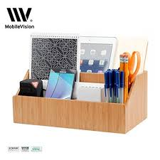 Small Desk Organizer Mobilevision Bamboo Desktop All In One Organizer For
