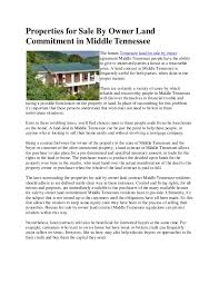 properties for sale by owner land commitment in middle tennessee