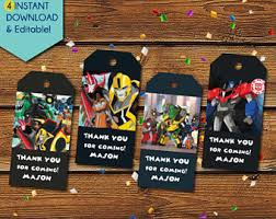 transformer party favors transformers tags etsy