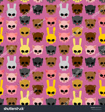 halloween background skulls cute skulls animals rabbit cat bear stock illustration 328493435