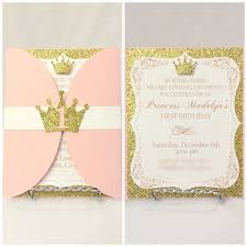 12 elegant princess scroll birthday invitation in gold and pink