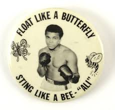 lot detail 1970s muhammad ali 2 1 2 pinback button float like