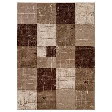Brown Geometric Rug City Collection Contemporary Faded Geometric Checkered Brown Beige