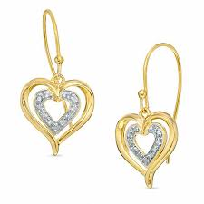 heart shaped earrings diamond accent heart shaped dangle earrings in 18k gold plated