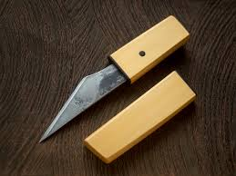 yellow cedar kiridashi crossed heart forge