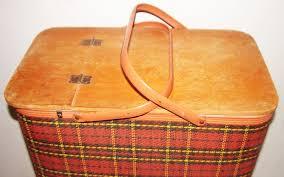 vintage picnic basket farm girl pink vintage redmon plaid picnic basket