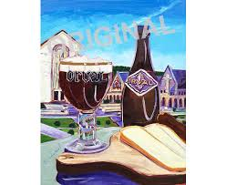 orval trappist ale belgian beer art painting for restaurant