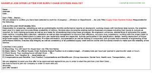 supply chain systems analyst offer letter