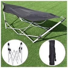 costway rakuten costway black portable folding hammock lounge