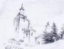 pencil sketch church drawing on vintage paper stock illustration
