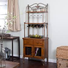 Wrought Iron Bakers Rack With Glass Shelves Furniture Fascinating Bakers Rack With Drawers And Nice Design