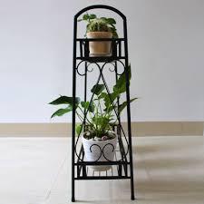 floor plant 2 tier metal shelves indoor plant stand display flower outdoor
