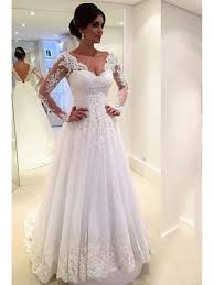wedding dress with sleeves line sleeves lace v neck wedding dresses bridal gowns 99603095