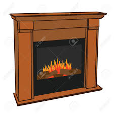 realistic wooden electric artificial fireplace with orange and