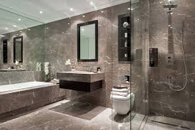 Marble Bathroom Designs A Muted Marble Bathroom With Dark Oak Inset Storage And Walk In