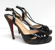 auth christian louboutin black patent leather activa sandal heels
