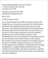 sample air force letter of recommendation 6 examples in word pdf