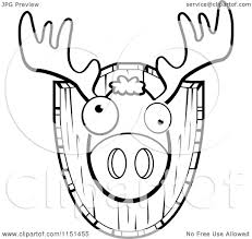 cartoon clipart of a black and white mounted trophy deer head