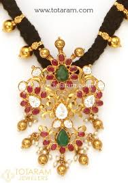 black gold necklace jewelry images 22k gold necklace with cz ruby emeralds pearls black thread tem jpg