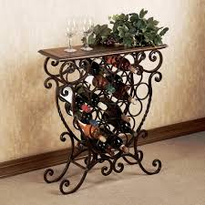 exquisite wrought iron corner wine rack design comes with wooden
