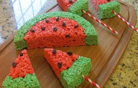 sprinkle some sunshine watermelon rice krispies treats party