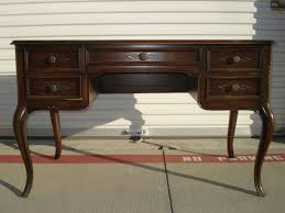 Shabby Chic Writing Desk by Desk Sligh Lowry Tooled Leather Top French Provincial Queen Anne