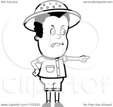 cartoon clipart of a black and white safari boy pointing angrily