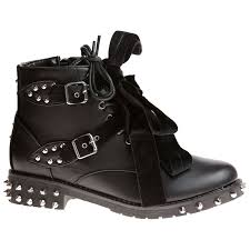 womens flat biker boots hunter womens flats low heels studded ankle boots ladies ribbon
