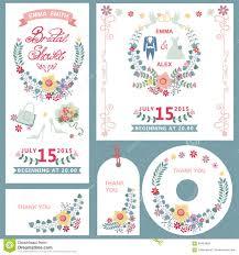 Bridal Invitation Cards Wedding Bridal Shower Invitation Cards Set With Floral Decor Stock