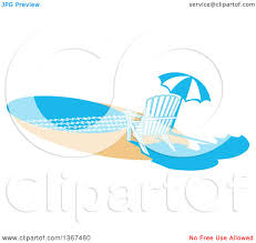 Beach Umbrella And Chair Clipart Beach Lounge Chairs Under A Straw Umbrella Facing Towards