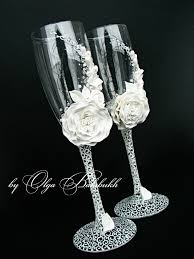 wedding glasses white chagne wedding glasses with a beautiful white flower