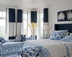 Navy And White Drapes Three Part Color Block Curtain Panels Colorblock Navy Blue