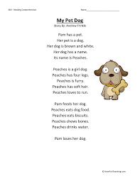comprehension worksheet my pet dog