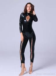 leather jumpsuit 2018 faux leather jumpsuit open chest lace up romper