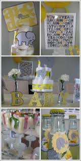 yellow and gray baby shower real party alphabets elephants shower