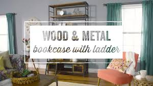 wood and metal bookcase with ladder world market